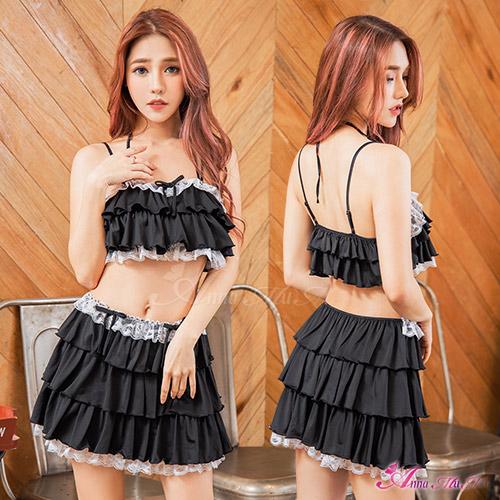 【Anna Mu】情趣睡衣 純黑誘惑蕾絲滾邊荷葉層次二件式短版套裝睡衣(NA20020007)